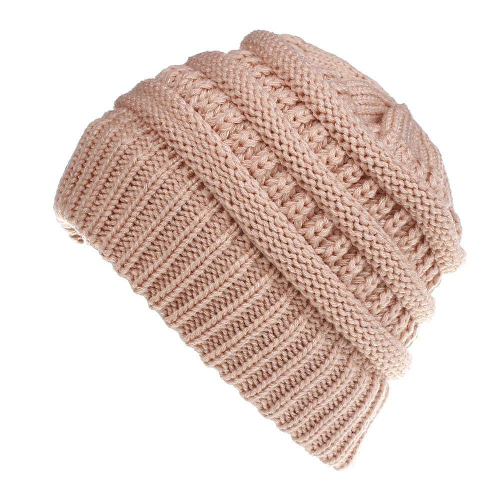 Aolvo Ponytail Beany Hat - Soft Knit Winter Baggy Warm Beanie Cap Ponytail Hole