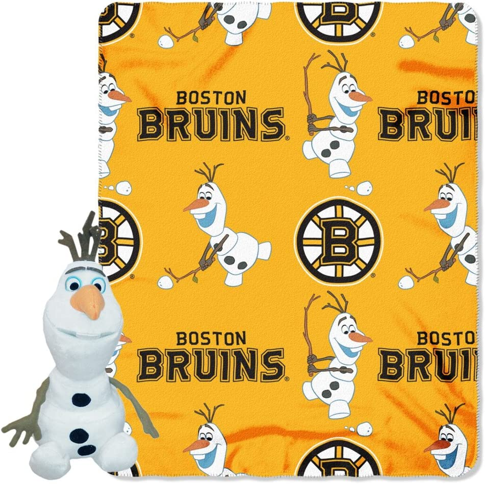 "Officially Licensed NHL Co-Branded Disney's Frozen Olaf Hugger and Fleece Throw Blanket Set, 40"" x 50"", Multi Color"