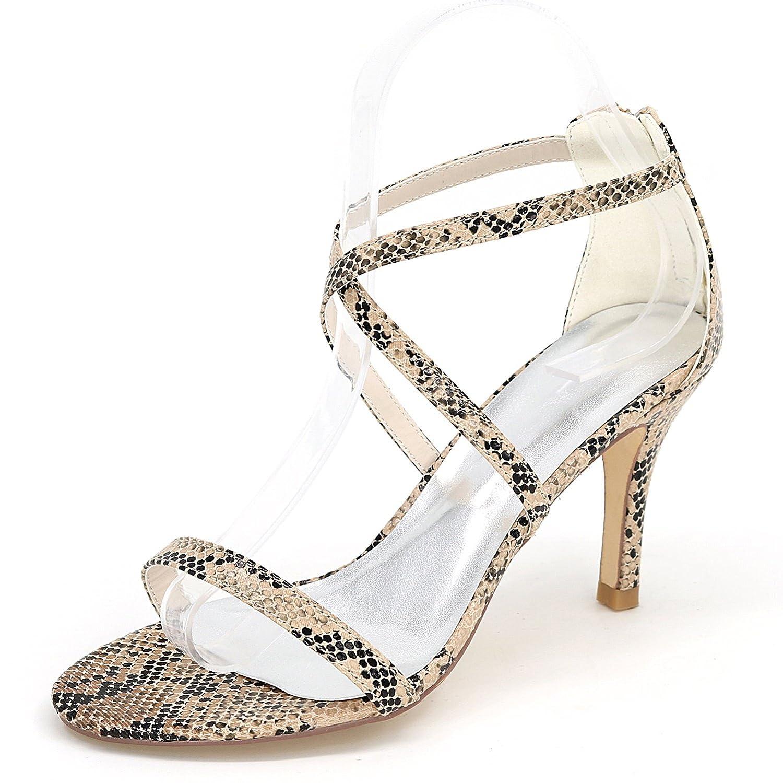 marron Eleboeb Femmes Chaussures de Mariage PU PU Plate-Forme Talon Stiletto Dentelle Peep Toe Sandales Les Les dames   9cm Talon  vendre comme des petits pains