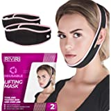 Pack of 2 Reusable Face Slimming Strap Pain-Free Face Lifting Belt, Double Chin Reducer V Line Lifting Mask for Sagging…