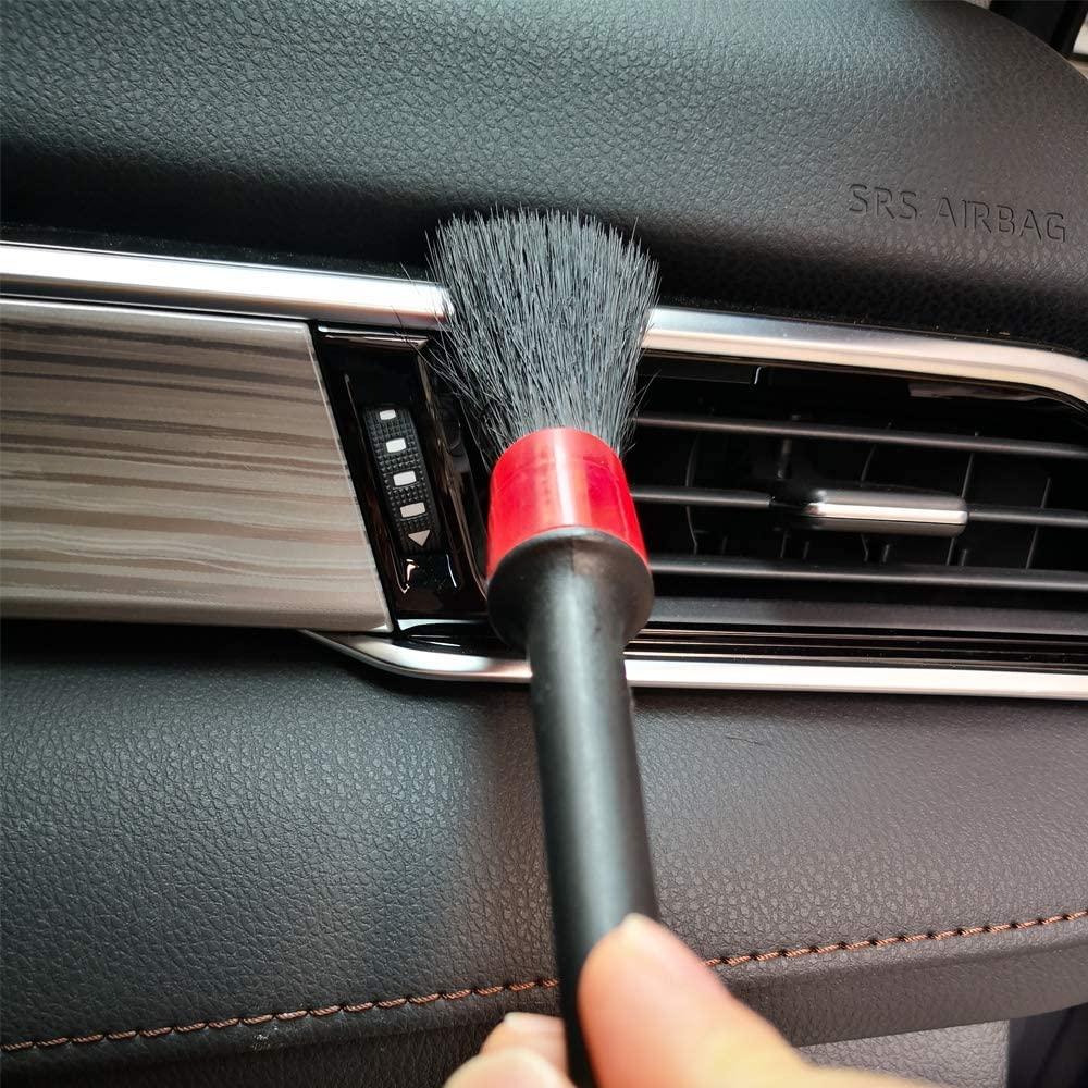 Interior IPELY 5 Pack Detailing Brushes for Cleaning Engines Emblems with Towel Air Vents Dashboard Leather Wheels Trim