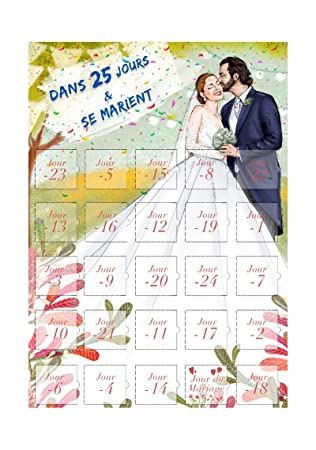 Calendrier Dans 25 Jours Le Mariage Compte à Rebours Cadeau