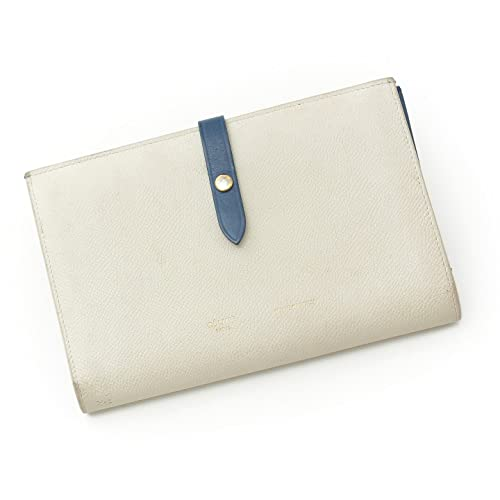 b1427b57e301 セリーヌ ストラップラージ マルチファンクション レザー 二つ折り長財布 ホワイト×ブルー