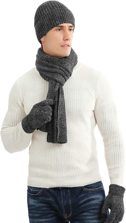 LAUSONS Herren Winterm/ütze Schal und Touchscreen Handschuhe Set