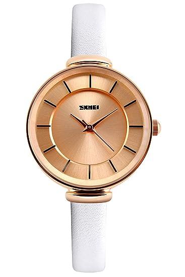 Reloj mujer Rose Oro Pulsera de piel (Schöne Alemán Diseño clásico Mujeres Vintage Reloj de