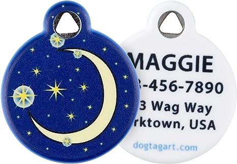 Succulent Moon Handstamped Pet ID Tag \u2022 Personalized PetDog ID Tag \u2022 Dog Collar Tag \u2022 Custom Moon Engraved Dog Tag