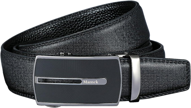 black Mamck Sliding Buckle Ratchet Belt Genuine Cowhide Mens Leather Belt