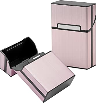 LUWANZ 2x Caja de cigarrillo, Cigarette Case de la aleación de aluminio con el color rosa, funda de aluminio con la cerradura magnética para 20 cigarrillos (No incluye cigarrillos): Amazon.es: Equipaje