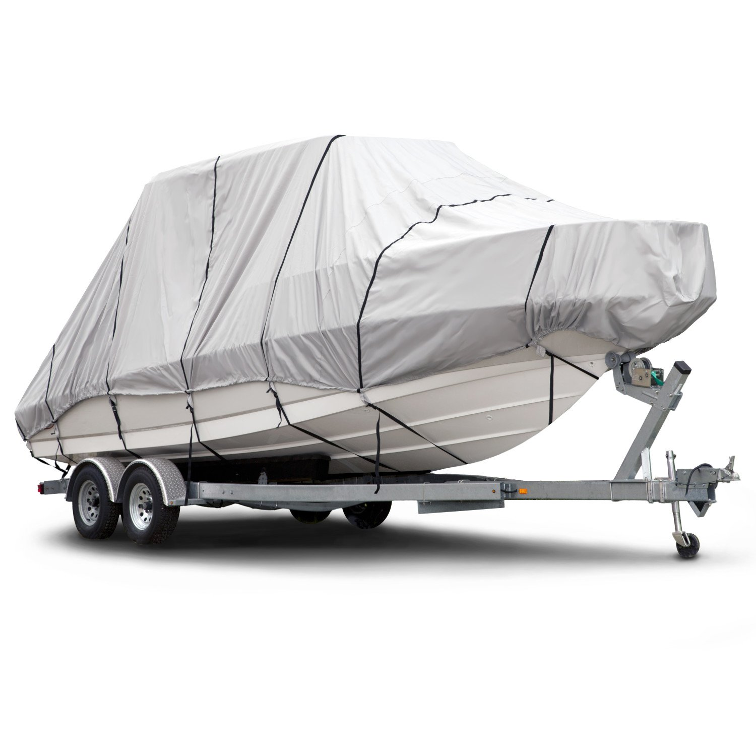 Budge 600 Denier Boat Cover fits Hard Top / T-Top Boats B-621-X6 (20' to 22' Long, Gray)