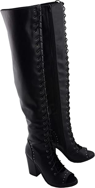 open toe lace up knee high boots