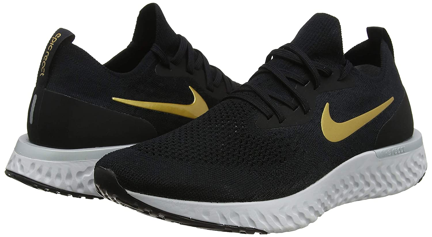 Amazon.com | Nike WMNS Epic React Flyknit [AQ0070-013] Women Running Shoes Black/Gold/US 5.5 | Road Running