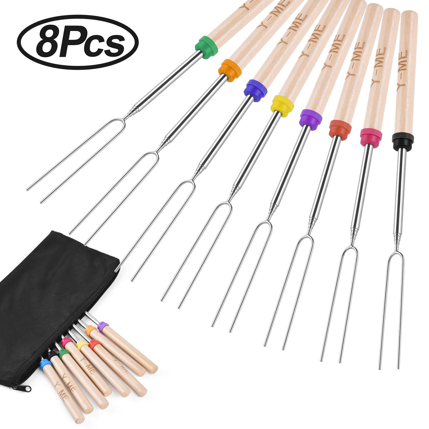Y-ME Marshmallow Roasting Sticks Set of 8 Telescoping Smores Skewers Stainless Steel BBQ Barbecue Forks & Hot Dog Fork 32 Inch Extendable Cookware Kit for Patio Fire Pit, Camping, Campfire, Bonfire