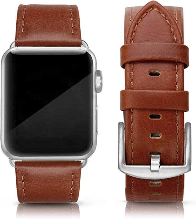 SWEES Leather Band Compatible for iWatch 42mm 44mm, Genuine Leather Replacement Wristband Strap Compatible iWatch Series 6, Series 5, Series 4, Series 3, Series 2, Series 1, SE Sports & Edition Men, Cognac Brown