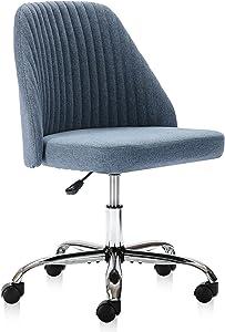 Home Office Chair, Modern Twill Fabric Chair Adjustable Desk Chair Mid-Back Task Chair Ergonomic Executive Chair-Blue