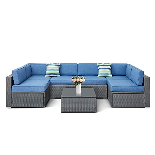 SOLAURA 7-Piece Outdoor Furniture Set, Wicker Furniture Modular Sectional Sofa Set with YKK Zipper Coffee Table with Waterproof Cover – Gray Denim Blue