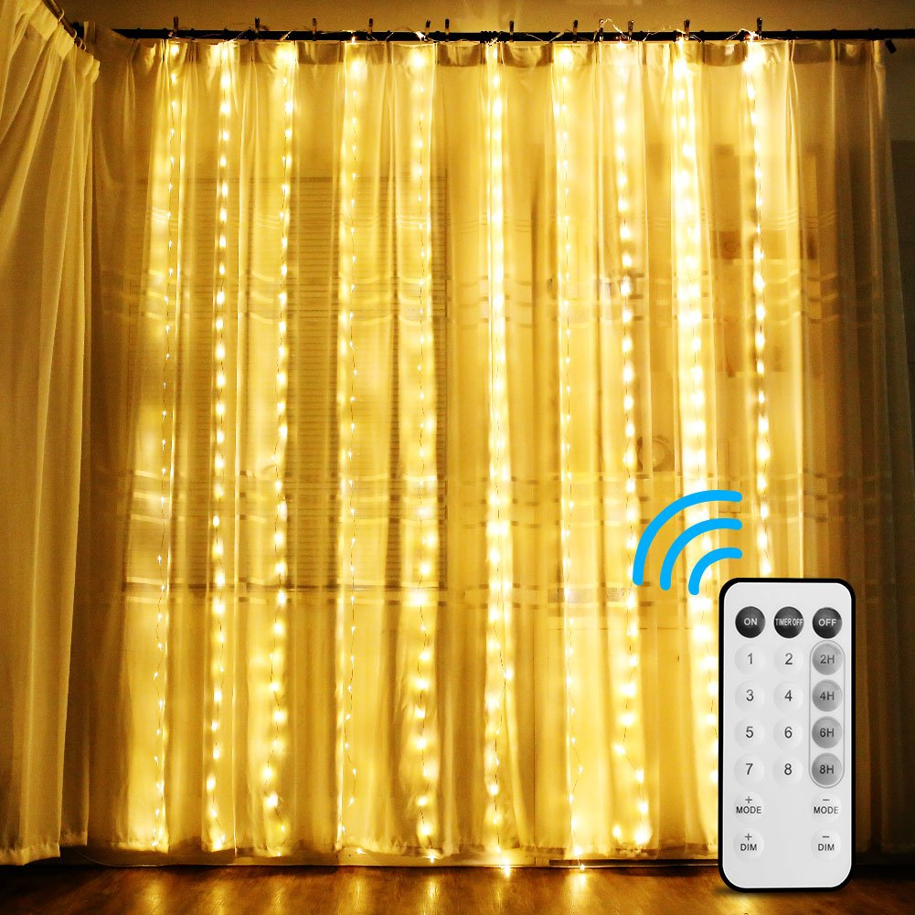 DLIUZ UL Safe 300 LED 9.84ft Connectable Copper Curtain String Fairy Lights Remote Control 8 Mode Lights Pattern Christmas Wedding Party Home Garden Lawn Decoration (Remote - Warm White)