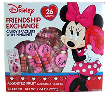 Disney Minne Mouse Valentines Day Friendship Exchange Candy Bracelets, 26 Count