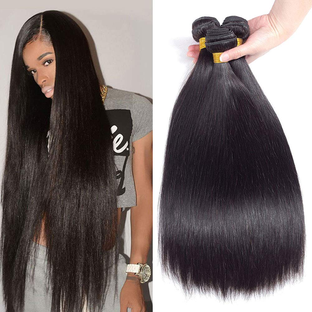 "10A Brazilian Virgin Straight Hair 3 Bundles 10"" 12"" 14"" 300g Brazilian Straight Human Hair Bundles 100% Unprocessed Virgin Remy Hair Bundles Natural Color"