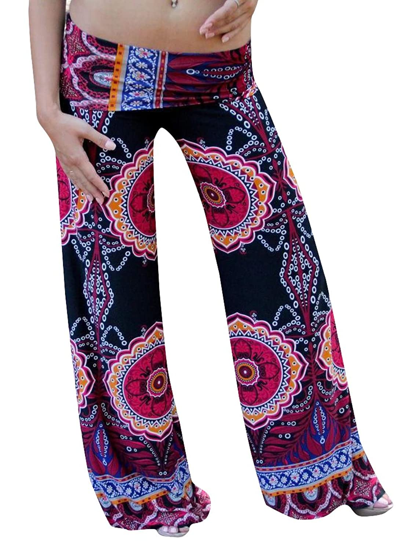 MLG Women's Casual Wide Leg Long Multicolored Palazzo Pants