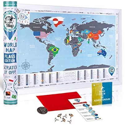 Amazon discovery map scratch off world map poster flags small discovery map scratch off world map poster flags small size world travel map scratch off gumiabroncs Images