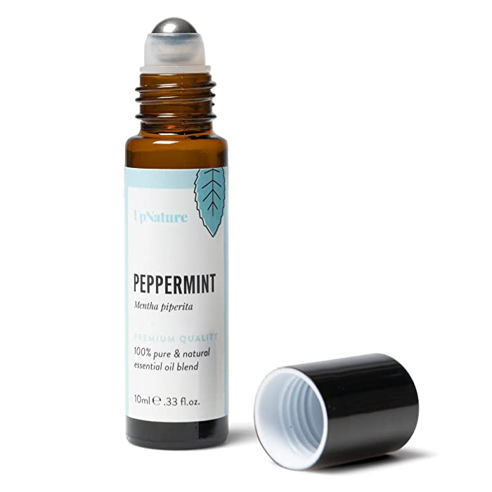 Peppermint Essential Oil Roll-On Stocking Stuffer - Migraine Essential Oil Roller - Headache Relief - Reduces Stress - High Quality, Leak-Proof Metal Rollerball - Travel Safe - No Diffuser Needed!