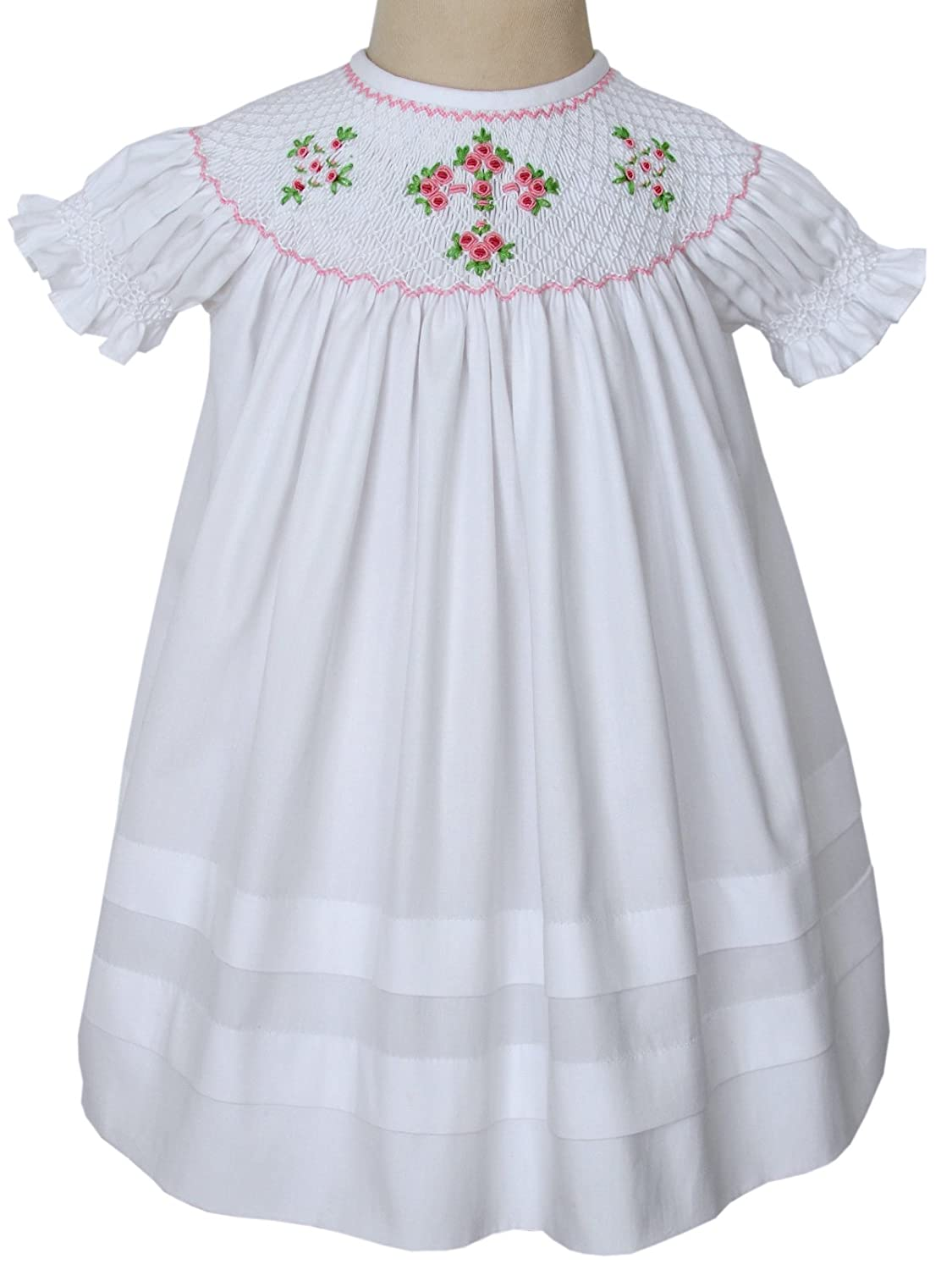 7a45d943d Amazon.com  Carouselwear Girls Easter White Dress Christening Cross ...