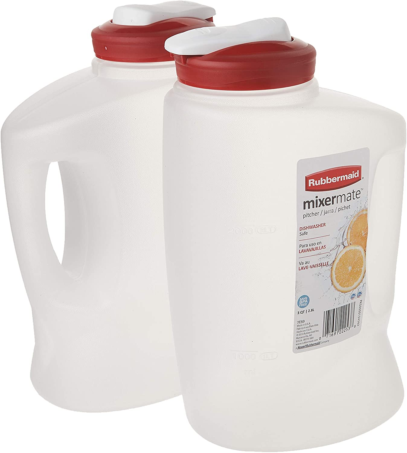 Rubbermaid 1776501 3-Qt. Seal N' Saver Pitcher/Bottle (Pack of 2), 2 pack, Red