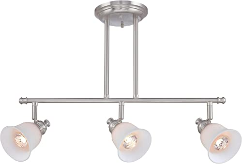 Lite Source LS-18723 Island Pendant with Frost Glass Shades, Steel Finish