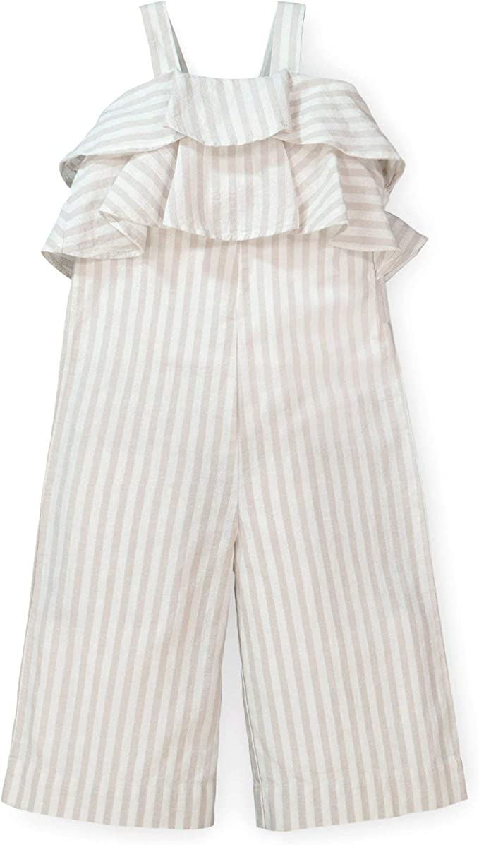 Hope /& Henry Girls Cropped Sleeveless Jumpsuit with Flounce Detail