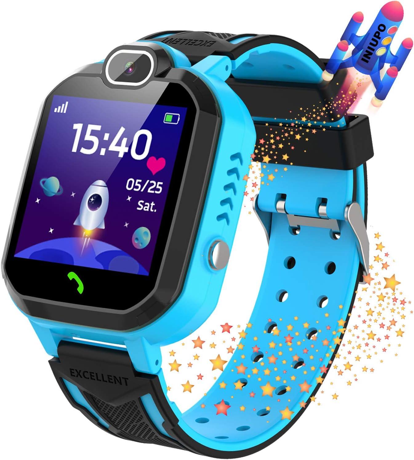 Reloj Inteligente para niños Kids Smartwatch para niños Niñas Juego de teléfono Smart Watch para niños Niños Reproductor de música Cámara Reloj Despertador Regalo de cumpleaños (Azul)