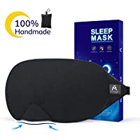 Cotton Sleep Eye Mask - 2018 New Design Light Blocking Sleep Mask, Includes Travel Pouch, Soft, Comfortable, Blindfold, 100% Handmade, Best Blinder for Travel/Sleeping/Shift Work/Meditation,Black