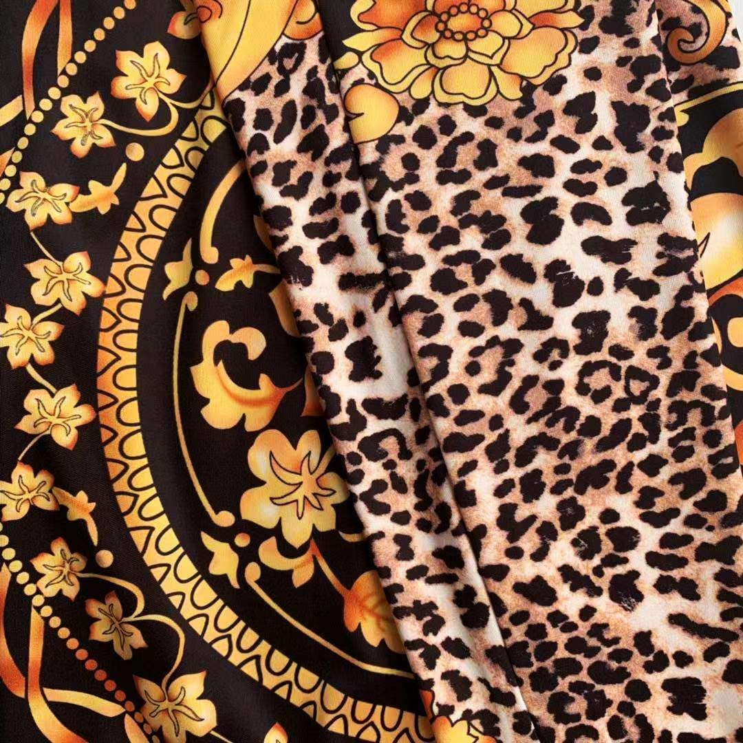 Doufine Womens Fashion Long-Sleeve Zip-Up Flower Printed 2-Piece Pants + Shirt Sets Black