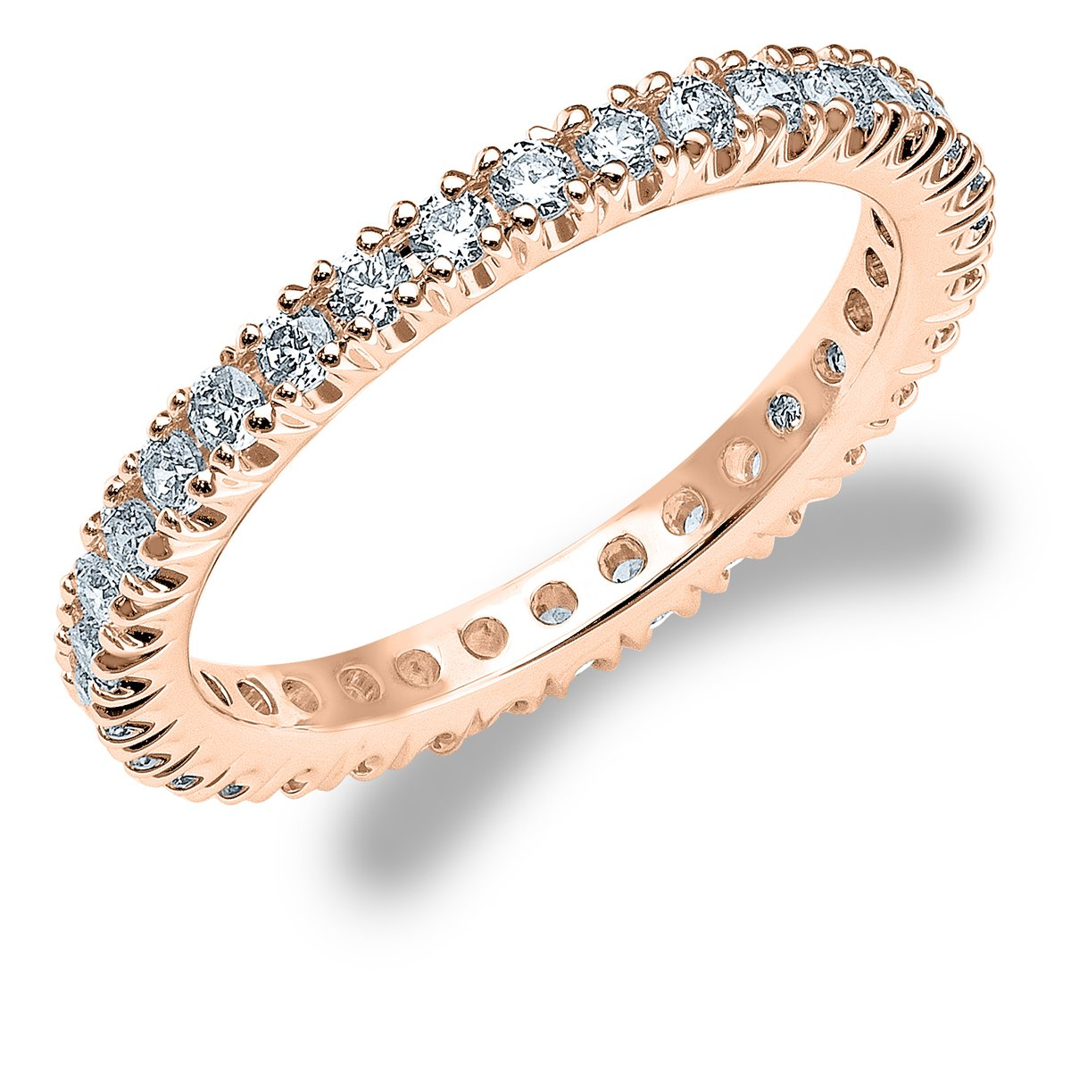 0.75 CTTW Women's Diamond 4-Prong Eternity Band in 14K Rose Gold(.75 cttw, F-G Color, VS1-VS2 Clarity) Size 10