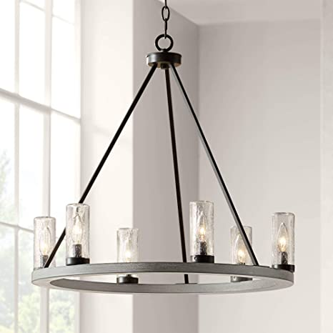 Lillian Gray Wood Bronze Wagon Wheel Chandelier 27 Wide Rustic Farmhouse Clear Seeded Glass Cylinder Shades 6 Light Fixture For Dining Room House Foyer Entryway Kitchen Bedroom Franklin Iron Works Amazon Com