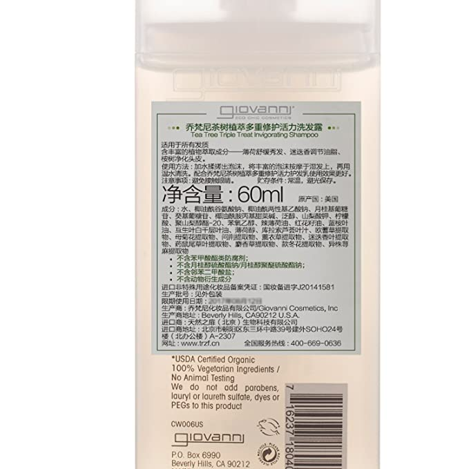 GIOVANNI - Tea Tree Triple Treat Invigorating Shampoo - 8.5 fl. oz. (250 ml)