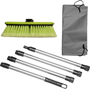 """GREAT WORKING TOOLS Car Wash Brush 10"""" Dip Brush with Soft Bristles, Side Protector, Adjustable Extra Long 65"""" Handle & Carry Bag for Auto Home RV SUV Boat Truck Cleaning"""