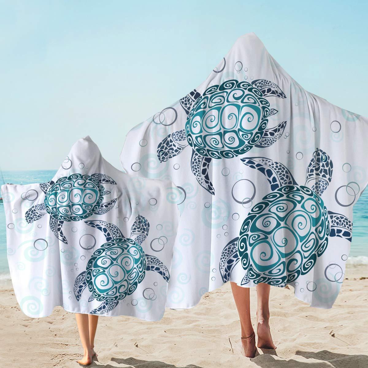 Sleepwish Turtle Hooded Bath Towel Turtle Beach Towel with Hood Beach Hoodie Towel Bathroom Wearable Towels (White and Turquoise,Kids and Adults)