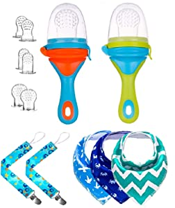 Gedebey Baby Food Feeder, Pacifier Clip, Baby Bibs, Fresh Fruit Teether for Boy and Girl, 2 Pack - Pacifiers Clips, 2 Pack - New Design Feeders, 3 Pack - Bandana Bib, 6 Different Sized Teething Meshes