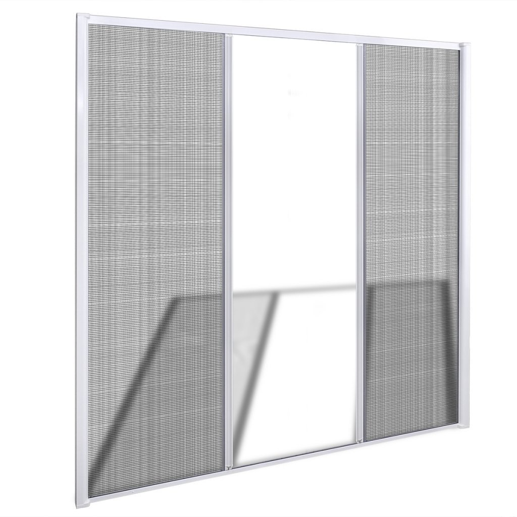 Festnight Mosquitera Corredera para Puertas Dobles Color de Blanco 215 x 215 cm