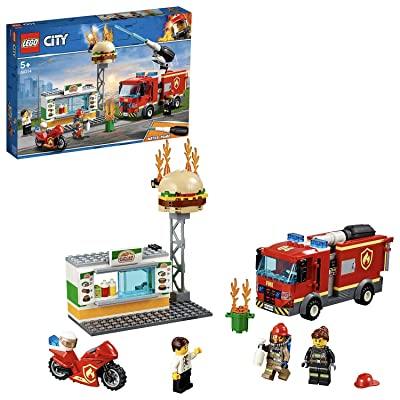 LEGO City Fire Burger bar Rescue Truck Toy, Burger bar Minifigures & Accessories, Fire Trucks for Kids: Toys & Games