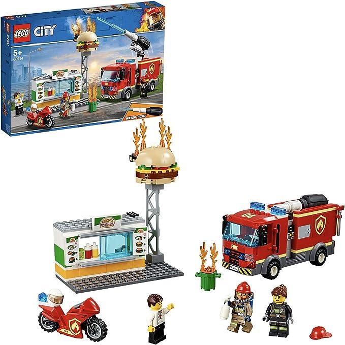 LEGO City Fire - Rescate del Incendio en la Hamburguesería, Set de Construcción de Aventuras de Bomberos, Incluye Camión y Moto de Juguete (60214): LEGO: Amazon.es: Juguetes y juegos