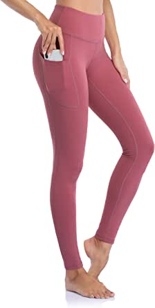 Occffy Yoga Pants with Pockets for Women Flex High Waist Yoga Leggings 4 Way Stretch Tummy Control Workout Running Tights DS166