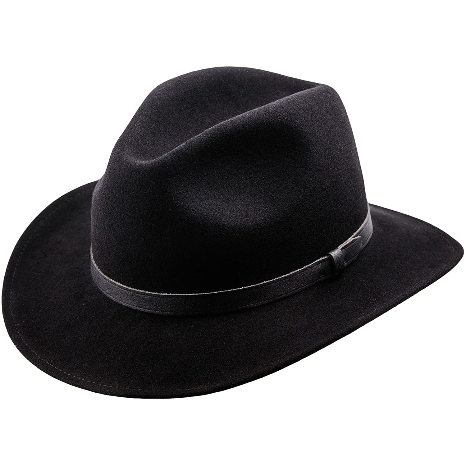 2341b606af45b Sterkowski Redwood Wool Felt Wide Brim Fedora Hat US 7 1 2 Black   Amazon.in  Clothing   Accessories