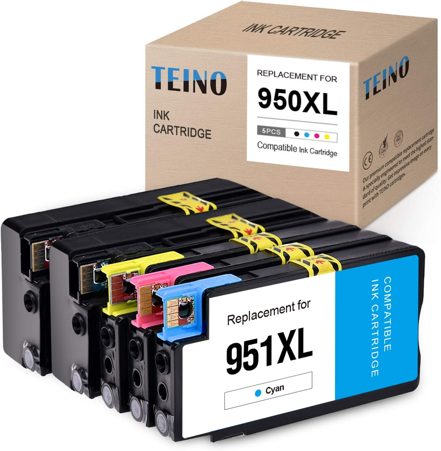 TEINO Compatible Ink Cartridge Replacement for HP 950XL 950 XL 951XL 951 XL use with HP OfficeJet Pro 8600 8610 8620 8625 8630 8100 8615 276DW (2 Black, 1 Cyan, 1 Magenta, 1 Yellow, 5-Pack)