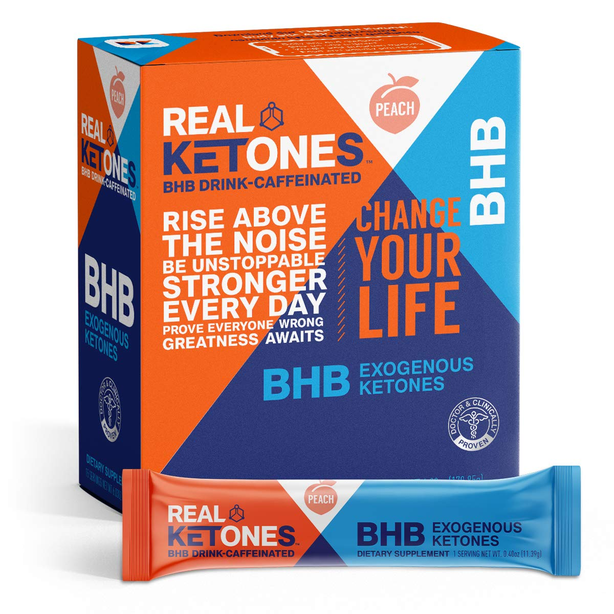 Real Ketones - BHB + Caffeine Exogenous Ketone Powder in Convenient Travel Ready Single-Serve Stick Packs, Peach Flavor by Real Ketones