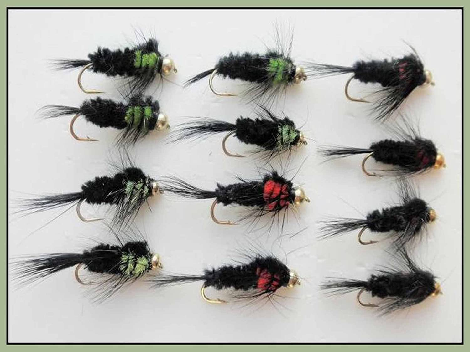 Goldhead Buzzers Mixed 10//12 6 Pack Trout Flies Black and Red Okey Dokey
