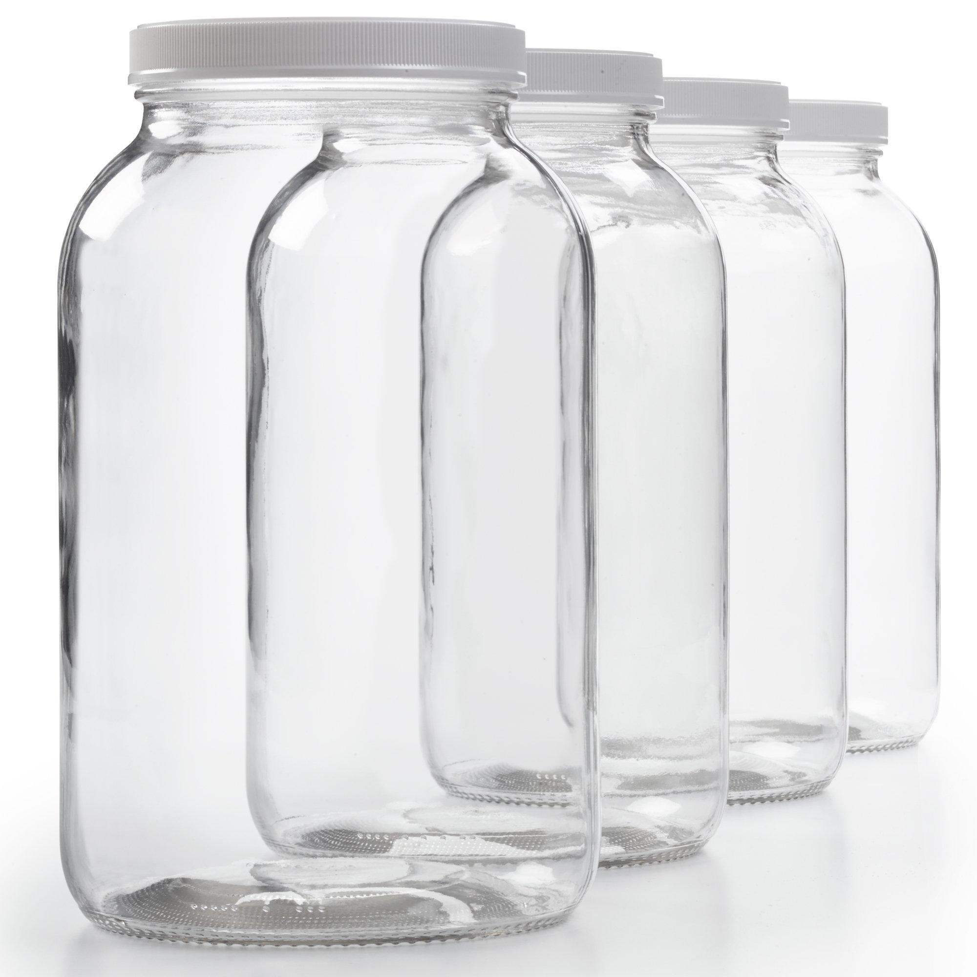 4 Pack - 1 Gallon Glass Jar w/Plastic Airtight Lid, Muslin Cloth, Rubber Band - Wide Mouth Easy Clean - BPA Free & Dishwasher Safe - Kombucha, Kefir, Canning, Sun Tea, Fermentation, Food Storage by 1790