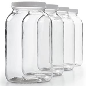 4 Pack - 1 Gallon Glass Jar w/Plastic Airtight Lid, Muslin Cloth, Rubber Band - Wide Mouth Easy Clean - BPA Free & Dishwasher Safe - Kombucha, Kefir, Canning, Sun Tea, Fermentation, Food Storage