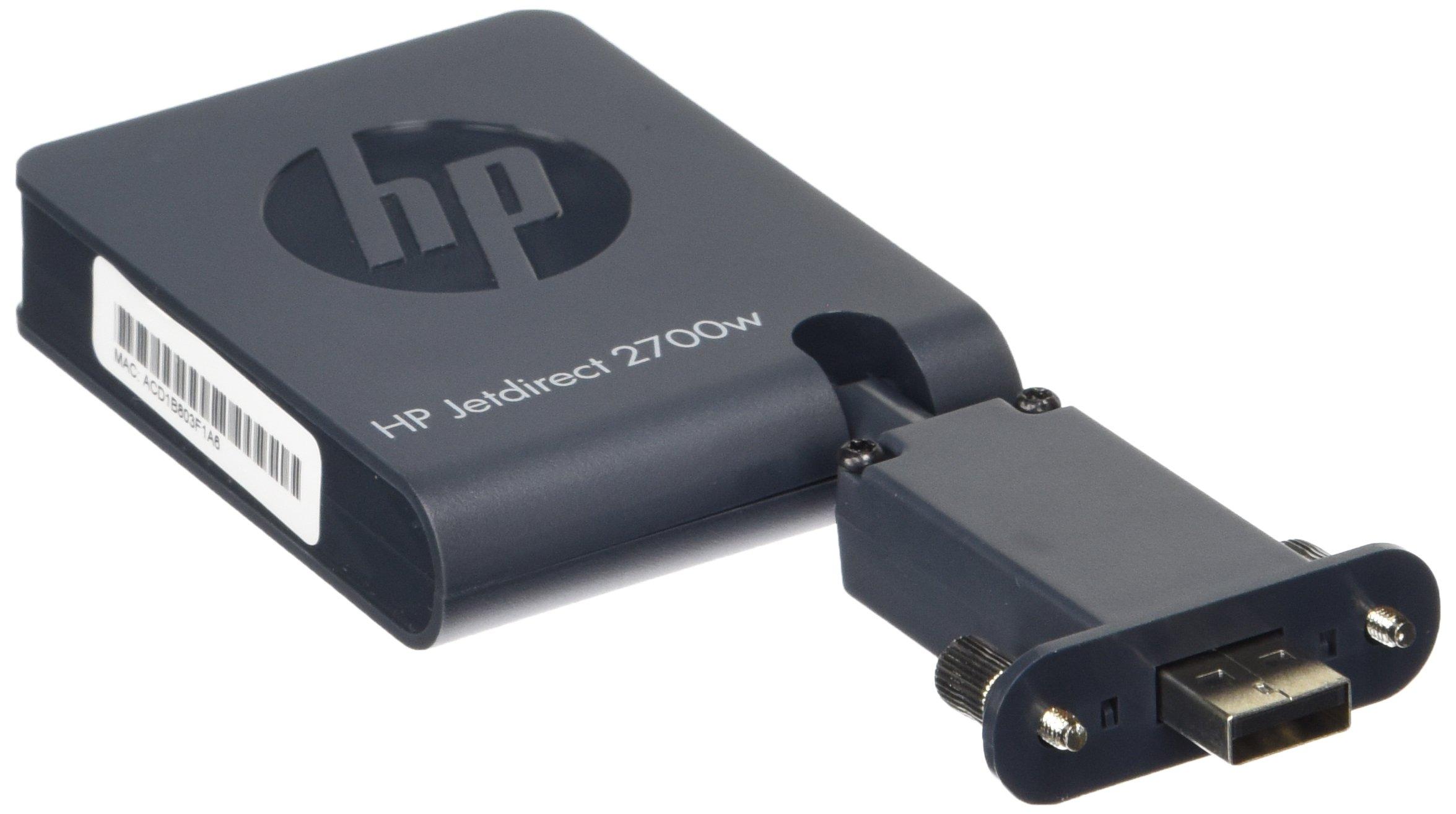 HP Jetdirect 2700w - Servidor de impresión (Wireless LAN, IEEE 802.11b, IEEE 802.11g, IEEE 802.11n, 128-bit AES, EAP, EAP-TLS, LEAP, PEAP, SSL/TLS, TKIP, WEP, WPA, WPA2, IPv4/IPv6: SNMPv1/v2c/v3, HTTP, HTTPS, FTP, TFTP, 9100, LPD, IPP, Secure-IPP, WS Dis