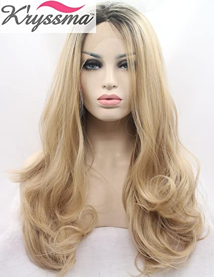 K ryssma aspecto natural Ombre Rubio Lace Front Peluca para mujer largo ondulado pelucas de